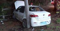 El hielo le hizo dar un buen susto a un conductor en Bustillo